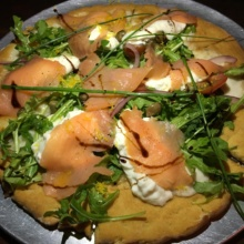 Gluten-free smoked salmon pizza from South End