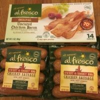 Gluten-free chicken sausage and bacon from Al Fresco