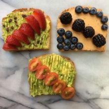 Avocado and Cashew Cheese Toasts with Berries