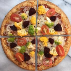 Cauliflower Cheese Pizza with Colored Cauliflower from Caulipower