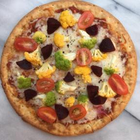 Cauliflower Cheese Pizza with Colored Cauliflower
