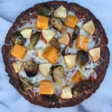 Gluten-free paleo Cauliflower Pizza with Brussels Sprouts, Squash, & Apples