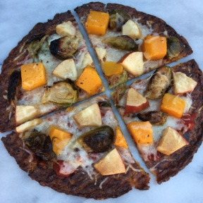 Gluten-free Cauliflower Pizza with Brussels Sprouts, Squash, Apples