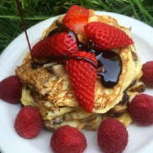 Chestnut Banana Pancakes with Date Syrup & Berries