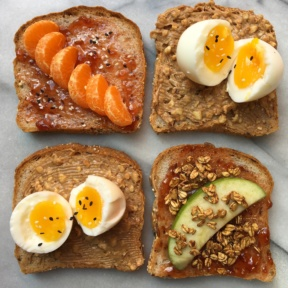 Deconstructed PB&J with Soft Boiled Eggs & Fruit