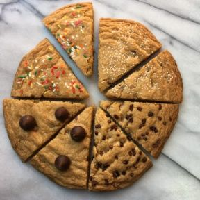 Decorated Chocolate Chip Cookie Cake with 8 slices