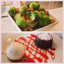 Gluten-free brussels sprouts and cake from Extra Virgin