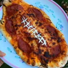 Gluten-free Football Pizza with pepperoni