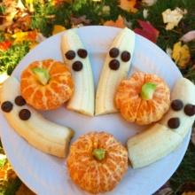 Fruit Pumpkins & Ghosts for Halloween food art
