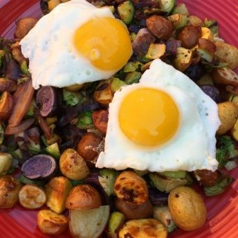 Hello Fresh brussels sprouts hash with eggs