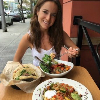 Jackie eating gluten-free Mexican food at Sharky's Mexican Grill in LA