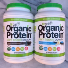 Chocolate and vanilla protein powders by Orgain