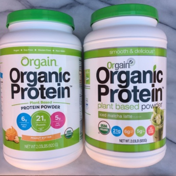 Peanut butter and iced matcha latte protein powders by Orgain