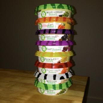 Stack of gluten-free hummus by Lantana Foods