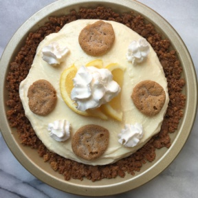 Gluten-free Lemon Icebox Pie topped with whipped cream