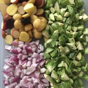Ingredients to make Marble Potatoes & Brussels Sprouts Hash