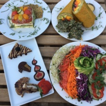 Gluten-free vegan dishes and dessert from Peace Pies