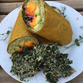 Gluten-free wrap with kale chips from Peace Pies
