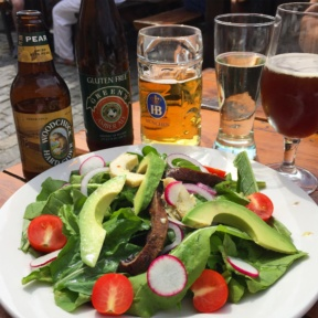 Gluten-free beer and salad from Pilsener Haus & Biergarten