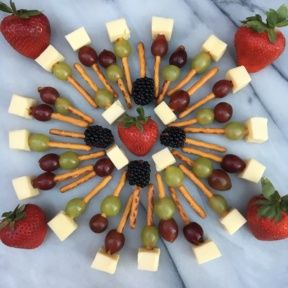 Gluten-free Pretzel Kabobs with fruit and cheese