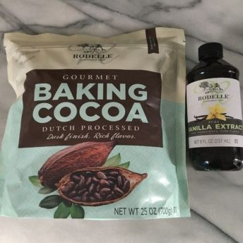 Gluten-free cocoa powder and vanilla extract from Rodelle
