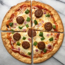 Gluten-free sausage and cheese pizza in 4 slices