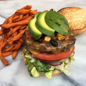 Gluten-free Southwestern Style Burger with sweet potato fries