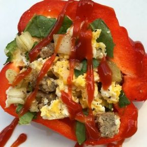 Gluten-free Stuffed Breakfast Peppers with Sausage