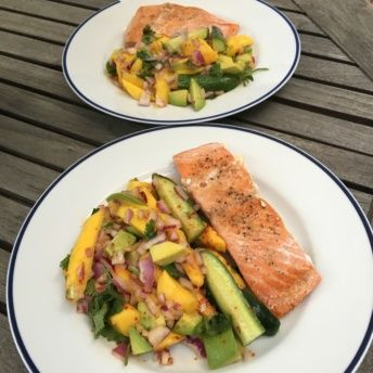 Gluten-free salmon and mango plates from Sun Basket