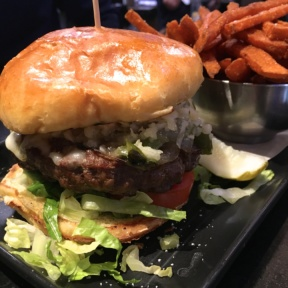 Gluten-free burger with fries from Tavern in the Square