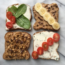 4 gluten-free toasts with nut butter and cream cheese