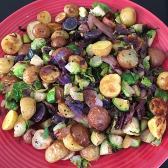 Marble potatoes & Brussels sprouts hash combined and plated
