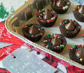 Gluten-free brownie cups with Hershey kisses