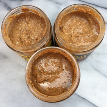 Three jars of whole 30 approved nut butters by Mee Eat Paleo
