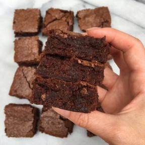 Stack of homemade gluten-free brownies