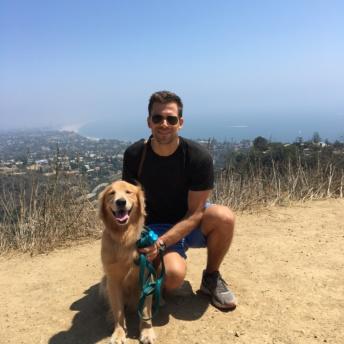 Odie and Brendan on a hike in Malibu