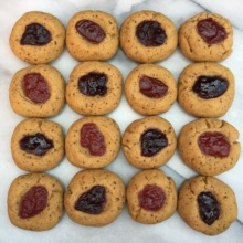 4 types of Jam Thumbprint Cookies