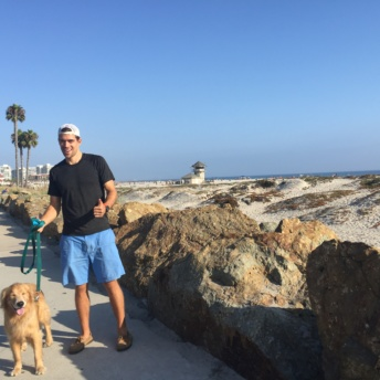 Brendan and Odie in San Diego