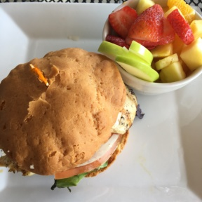 Gluten-free sandwich and fruit from Kozy Kitchen