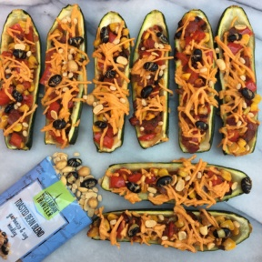 Mexican Zucchini Boats with Vegetarian Traveler toasted bean blends