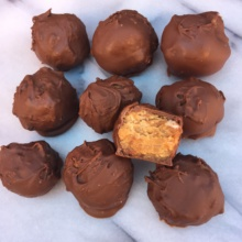 Peanut Butter Cream Cheese Balls covered in chocolate