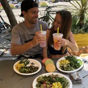 Jackie and Brendan drinking Lemonade at Lemonade