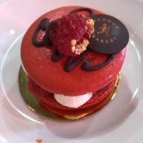 Giant raspberry macaron from Pitchoun Bakery