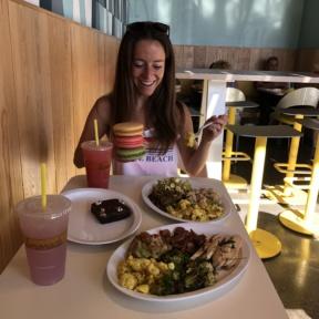 Jackie eating at Lemonade