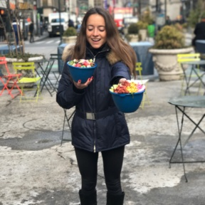 Jackie eating Just Salad in Herald Square