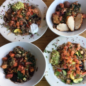 Gluten-free veggie bowls and naked burrito bowls at Sharky's
