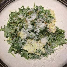 Gluten free salad with sprinkled cheese from Mama Shelter