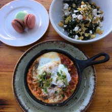 Gluten free salad, eggs, and macarons from Paper or Plastik Cafe