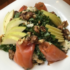 Gluten-free kale salad with smoked salmon from Smorgas Chef