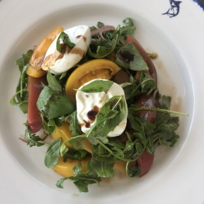 Burrata and tomato salad by Rowayton Seafood